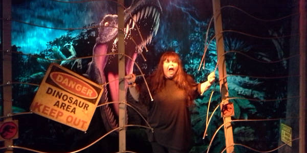Me in a silly Jurassic Park photo at Madame Tussauds Orlando