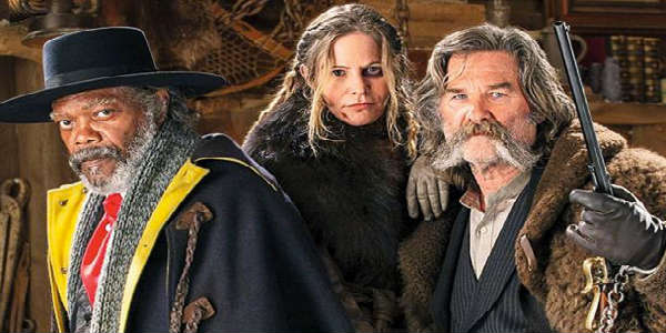 Hateful Eight cast - Samuel L. Jackson, Jennifer Jason Leigh, and Kurt Russell
