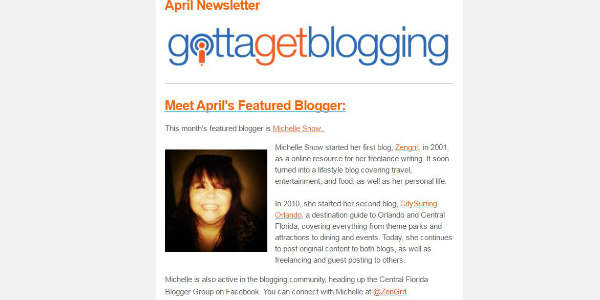 April 2016's Featured Blogger by Gotta Get Blogging