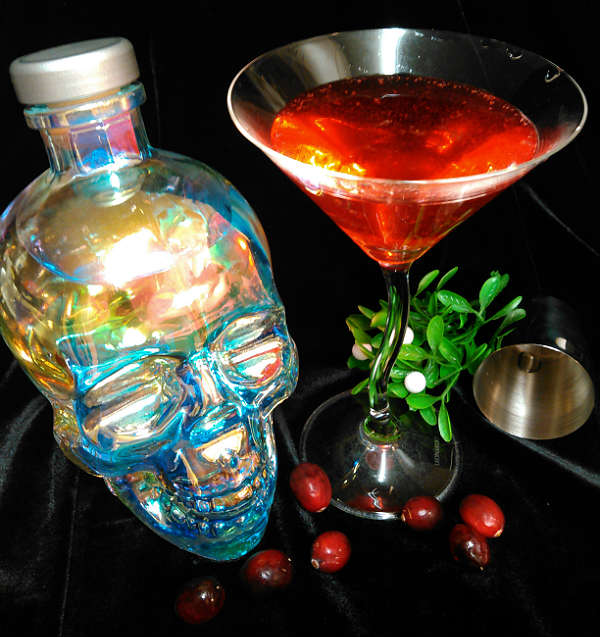 Hot Berry-tini Cocktail Recipe featuring Crystal Head Aurora Vodka