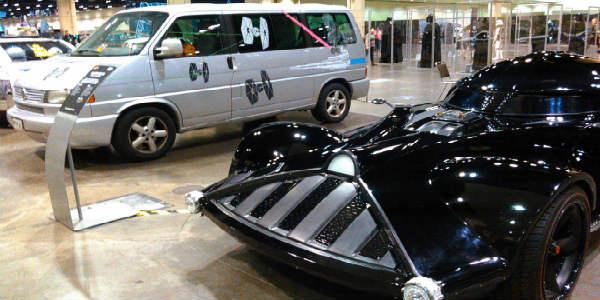 SWCO - Star Wars modified van and Darth Vader Hot Wheels car