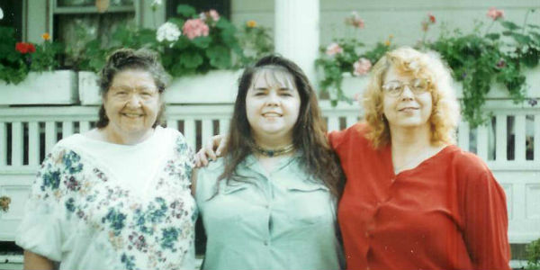 Michelle Snow with her grandmother and mother in the 1980s