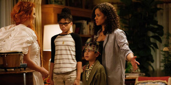 Her brilliant scientist mother - Gugu Mbatha-Raw - has been a solo parent to her and her adopted brilliant brother, Charles Wallace - Deric McCabe